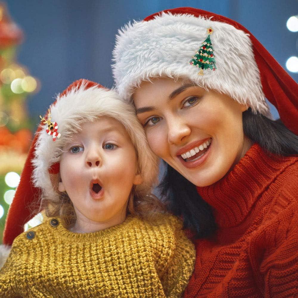 6 Stile Huayue 6 St/ück Weihnachtsbrosche Set Strass Weihnachtsbrosche Kristall Weihnachtsschmuck Geschenk Bunte Diamant Emaille Anstecknadeln Brosche Pins f/ür Pullover Hut Schal Strickjacke