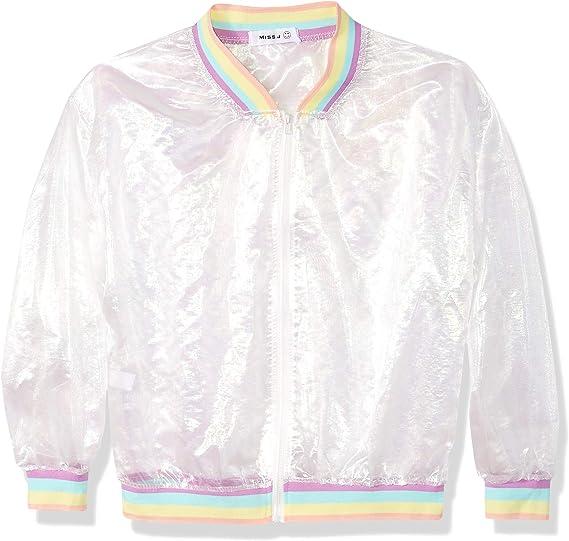 Women Girls Holographic Rainbow Jacket Iridescent Transparent Summer Sun-Proof Coat