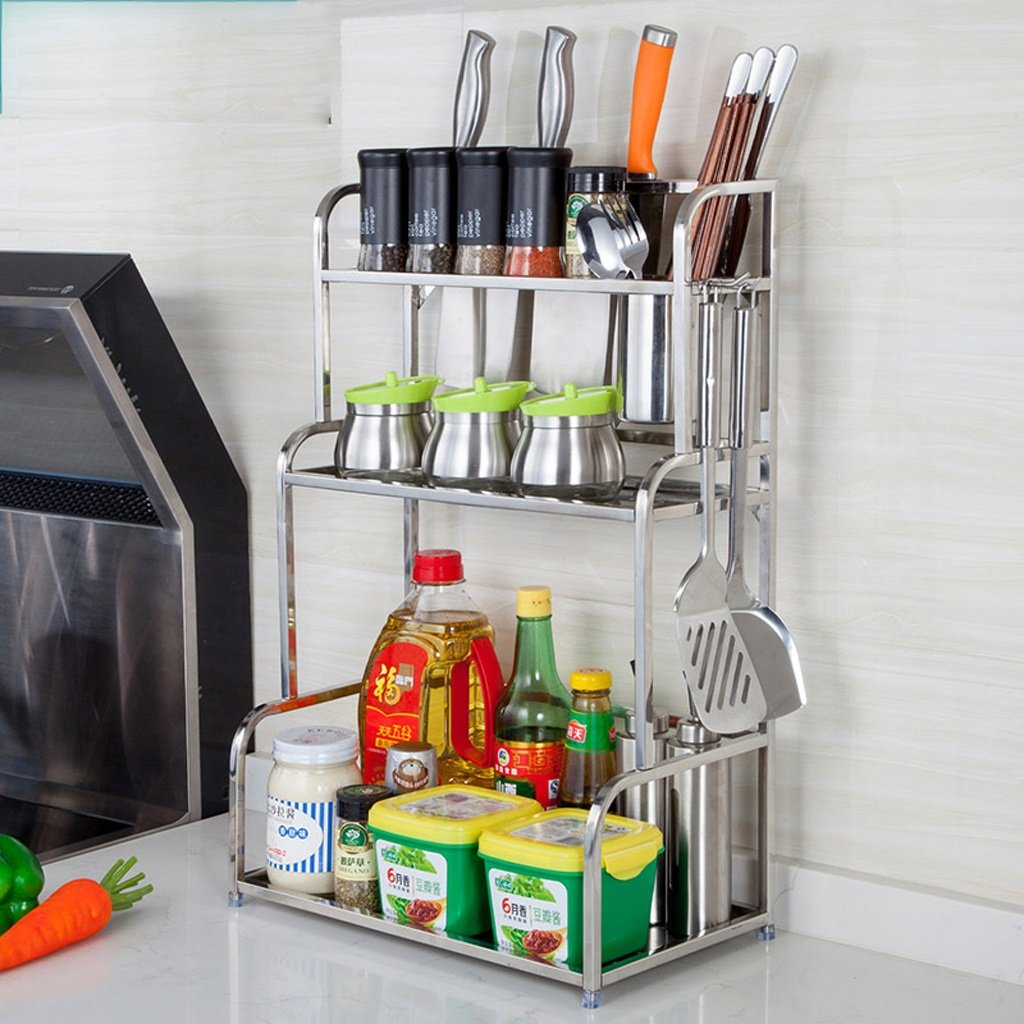 Hyun times 304 Stainless Steel Shelf Knife Shelf Chopsticks Basket Frame Multi-functional Storage Rack 3-layer Seasoning Spices