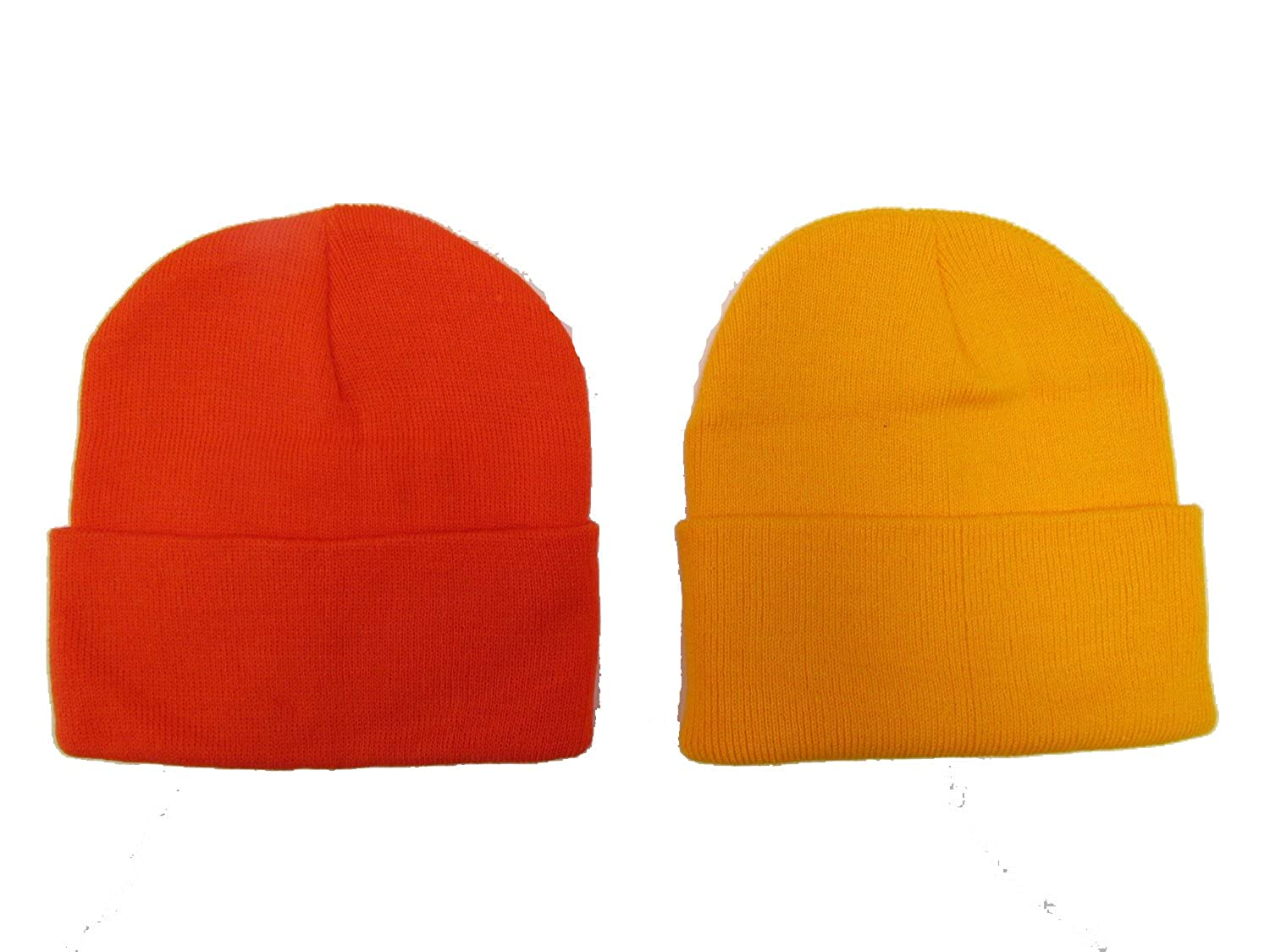 Holiday Deals! 2 Pack Knit Beanies / Orange & Gold / Great Price!