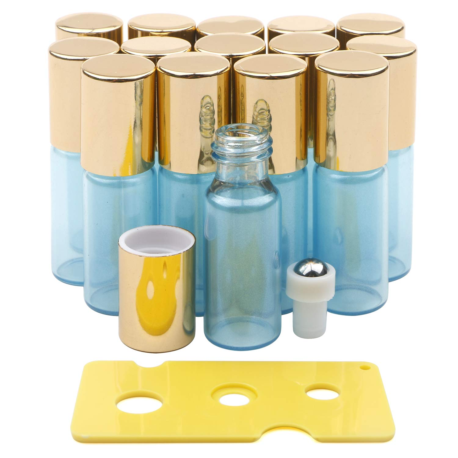 Kesell 15 Pack 5ml Pearl Light Blue Glass Roller Bottles with Stainless Steel Roller Balls and Golden Lids,Opener Included by Kesell