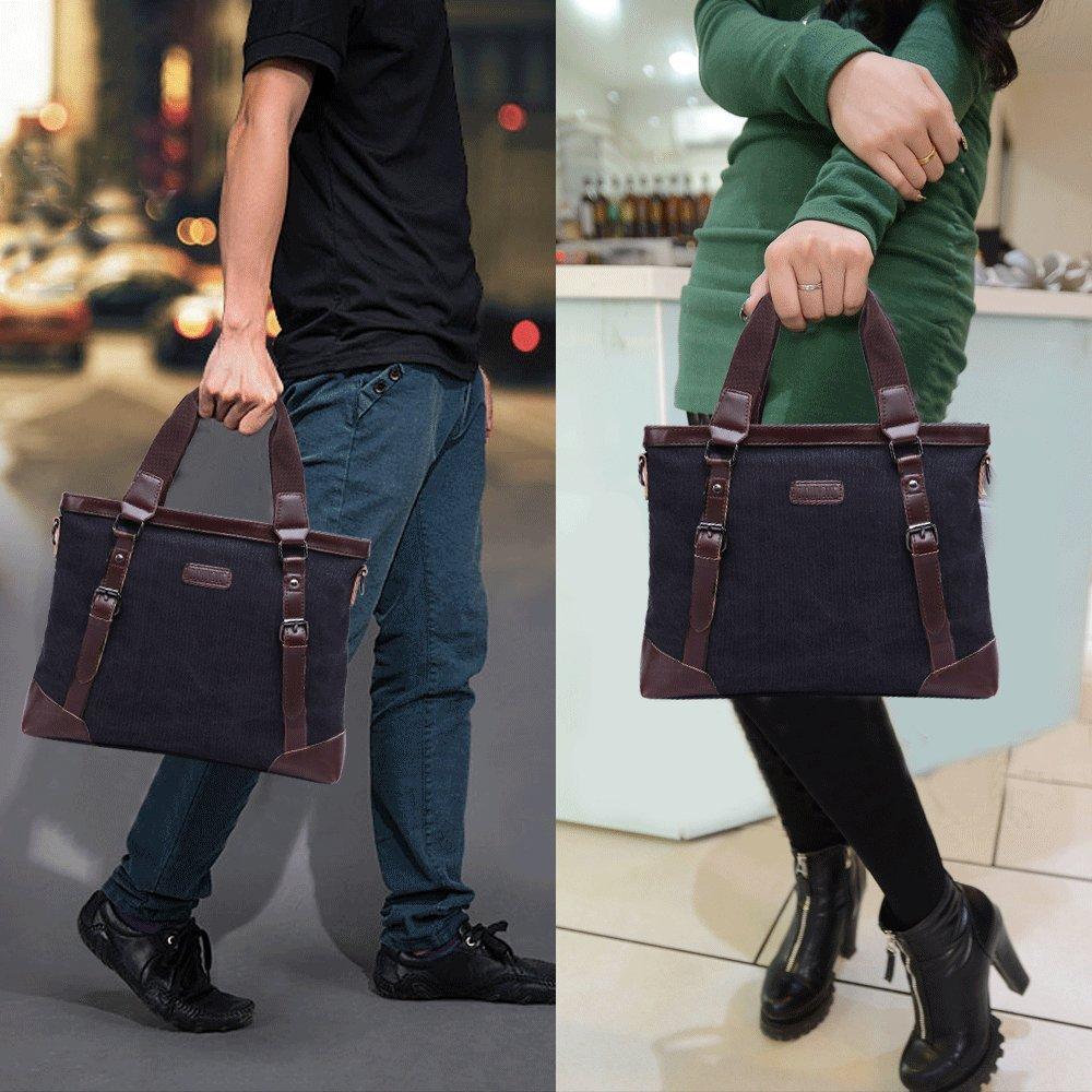JCTHBAG Men/Women 14 Inch Laptop Notebook Totes, Canvas Shoulder Messenger Bag (Black)