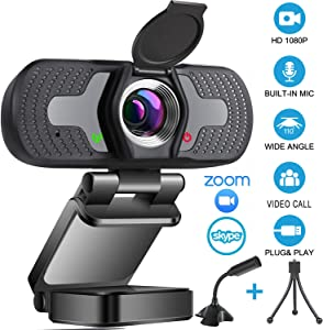 1080P HD Webcam with Microphone & Privacy Cover,110-degree Widescreen USB Camera for PC/Mac Laptop/Desktop,Streaming Webcam for Video Calling and Recording Conferencing,Flexible Rotatable Clip,Tripod