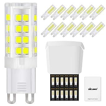 DiCUNO Bombillas LED G9 De 4W Equivalentes A Bomlillas Halógenas De 40W, Blanca Fría 6000K