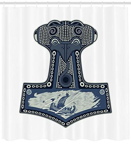 Lunarable Viking Shower Curtain By Scandinavian Folklore Motifs Northern Germanic Culture Mjollnir Fabric Bathroom