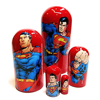 """Great Russian Gifts Superman Superhero RED 5-Piece 4.5"""" Toy Collection Nesting Doll Set: Toys & Games"""