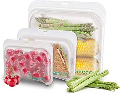 Silicone Reusable Food Storage Bags, Nomeca Airtight Ziplock Sandwich Snack Bags, Microwave Dishwasher Freezer Safe BPA-FREE Gallon Container for Vegetable, Meat, Lunch, Fruit, Sous Vide (3 Packs)