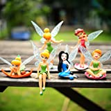 6pcs Tinker Bell Cartoon Fairy Princess Doll Action Figures Toy Gift Set For Kids