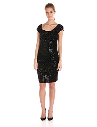 Jessica Simpson Women&-39-s Sequin Velvet Cap-Sleeve Dress with Side ...