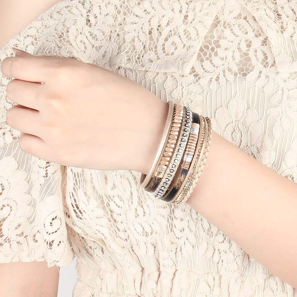 Jenia Women Leather Cuff Bracelet Multi Strand Wrap Around Bracelets Charm Heart Boho Bangle Handmade Jewelry for Girls Mother Lover Gift Wife Ladies