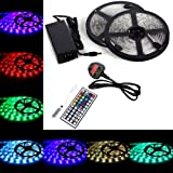 BMOUO 5050 LED Strip Lights Kit - 32.8ft / 10M Flexible 5050 RGB 300 LEDs Light With 44key LED Controller and DC 12V5A Power Adapter Built-in IC and Fuse