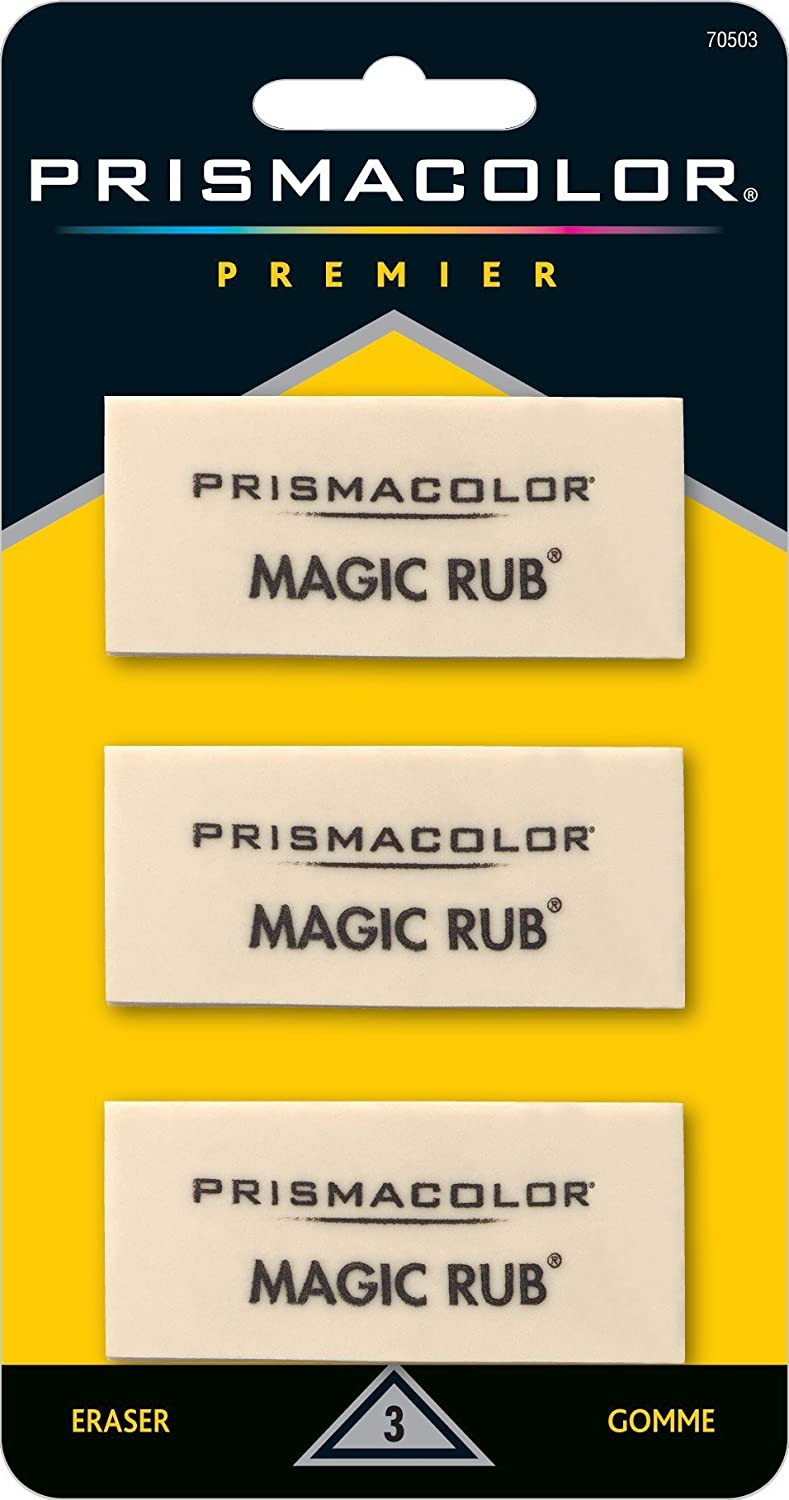 PRISMACOLOR Magic Rub Eraser, Eraser 2-1/4 x 1 x 7/16, 3-Carded, White (70503) Newell Rubbermaid Office