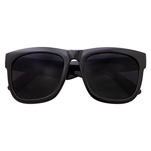 25b8d9de6f292 XL Men s Big Wide Frame Black Sunglasses - Oversized Thick Extra Large  Square (Matte Black