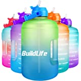 BuildLife 1 Gallon Water Bottle -Leakproof Straw Lid BPA Free Water Jug with Motivational Time Marker & Phone Holder Handle t