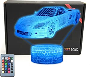 Race Sports Car Roadster 3D Illusion LED Room Table Lamp Decor Night Light with 16 Colors Touch Button & Remote Control Bedroom Decorations Toys Gifts for Men, Women, Kids, Boys, Girls Teens