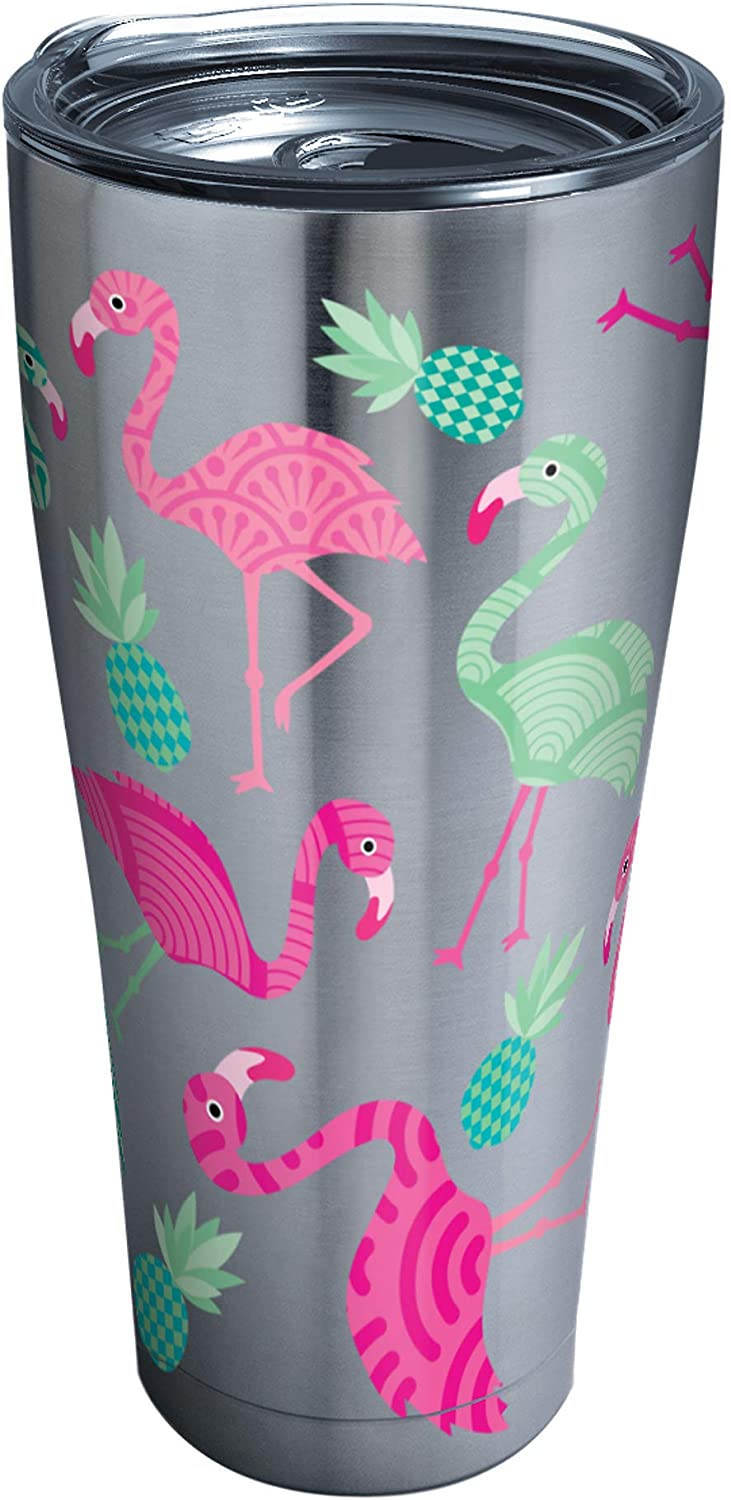 Tervis Flamingo Pattern Stainless Steel Tumbler with Clear and Black Hammer Lid 30oz, Silver