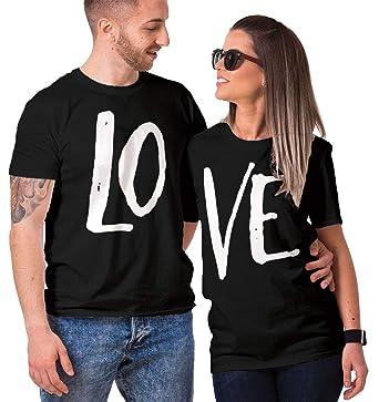 9f7e9dfc HAASE UNLIMITED Matching Couple LO VE T-Shirt (Black/Black, Mens 2XL