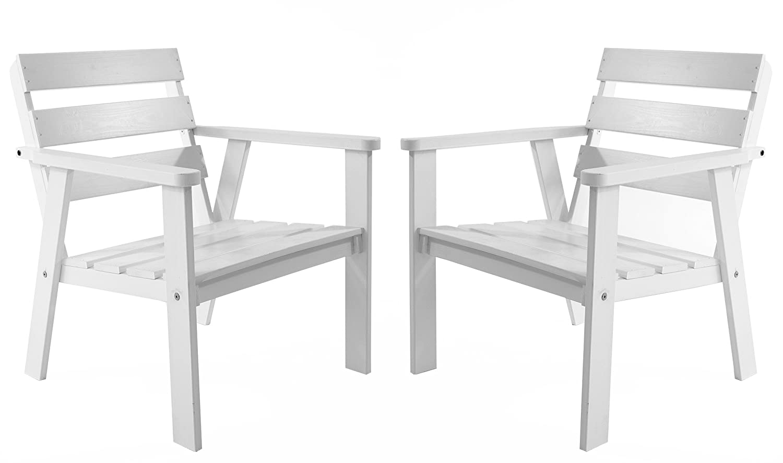 Ambiente Casa salotto in rattan sedia poltrona da giardino in legno massello HANKO, bianco, set di 2 pezzi Ambientehome 90055