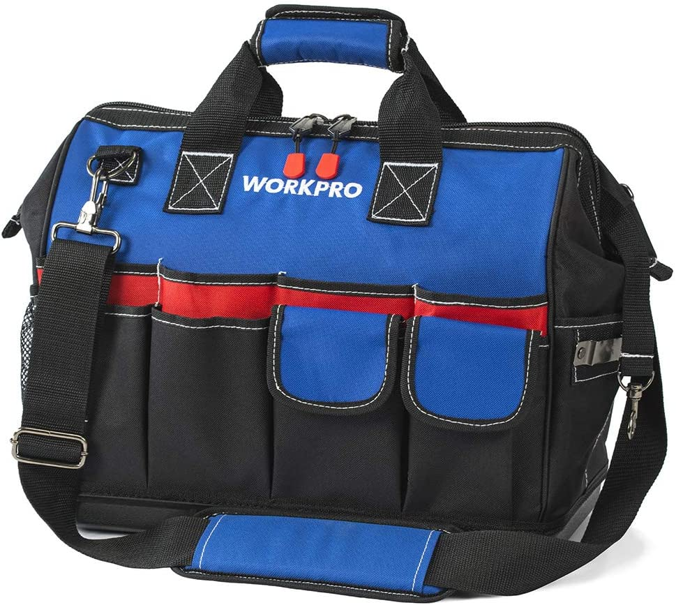 WORKPRO Heavy Duty Tool Bag,18-Inch Wide Mouth Canvas Tool Organizer with Water Proof Molded Base …