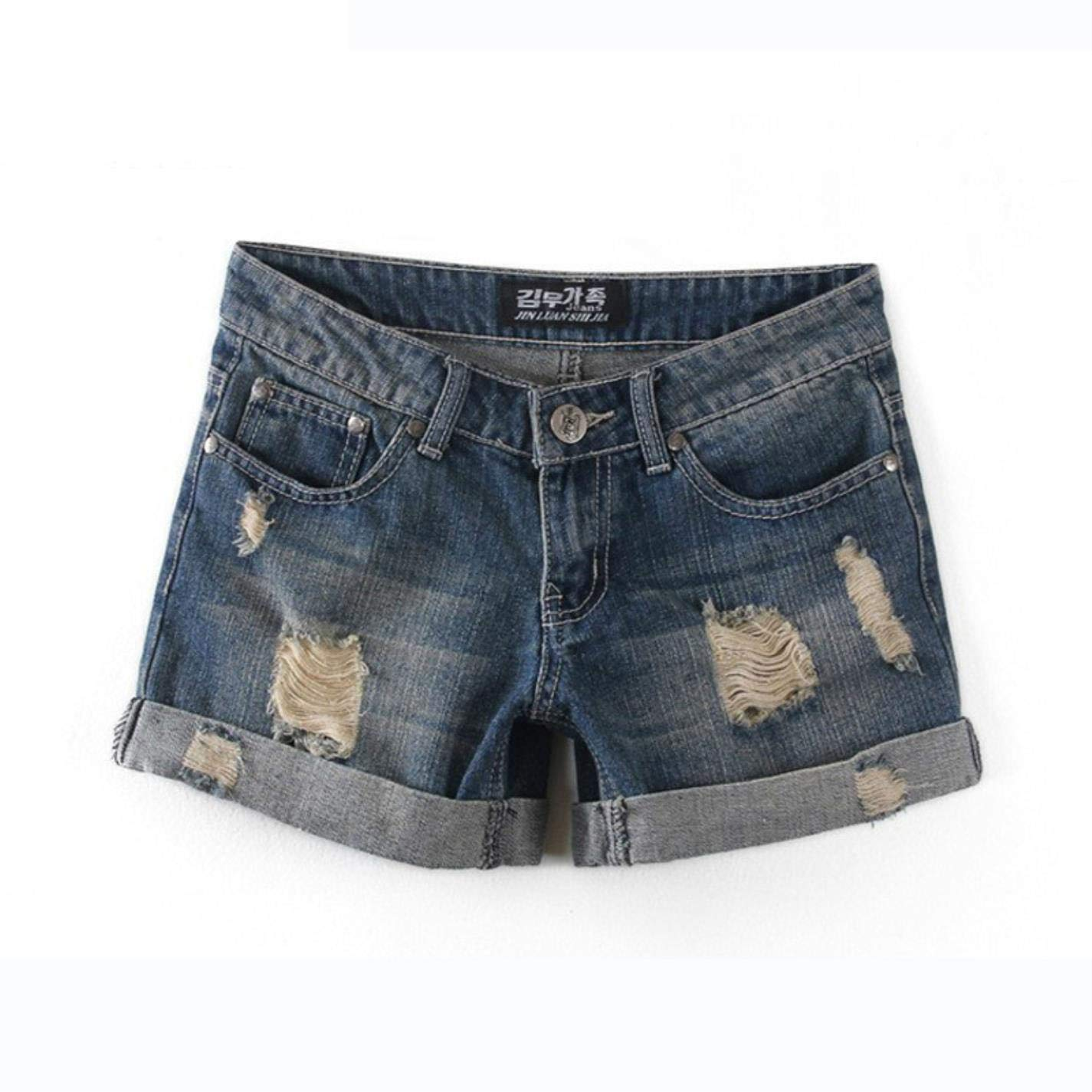 QzJXJbLe Womens Button Hole high Waist Cotton Denim Shorts