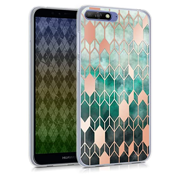 wholesale dealer 5c079 2f999 kwmobile Case for Huawei Y6 (2018) - TPU Silicone Crystal Clear Back Case  Protective Cover IMD Design - Blue/Rose Gold