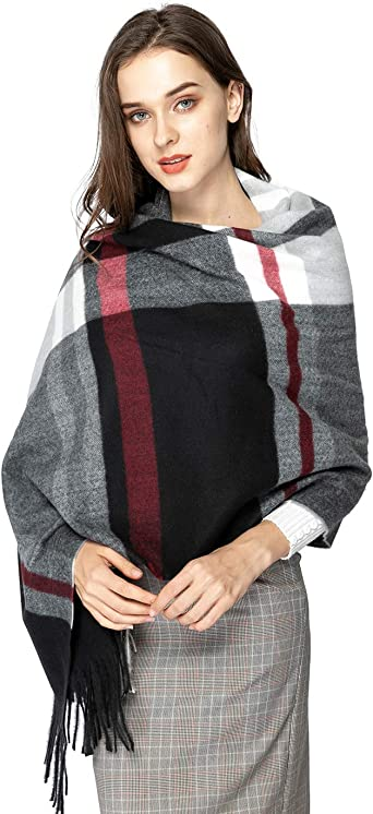 Winter Womens Large Soft Blanket Scarf Tartan Wrap Shawl Stole Pashmina