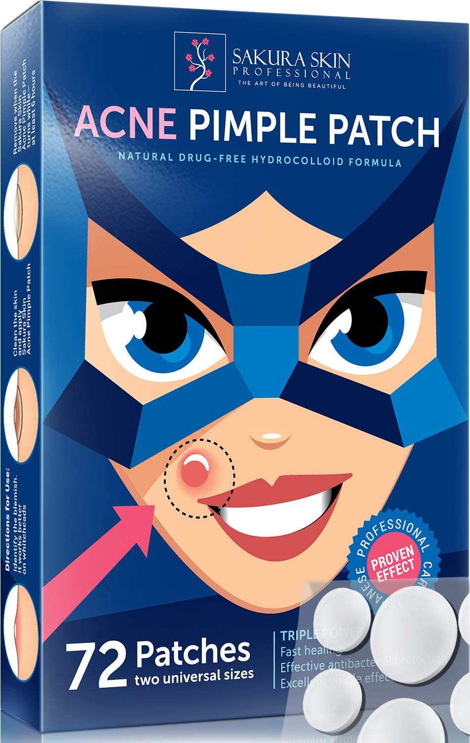 Acne Patch Pimple Patch Hydrocolloid Acne Stickers Absorbing Spot Dot Acne Cover 72 Acne Dots Pimple Sticker Acne Pimple Master Patch Blemish Patches