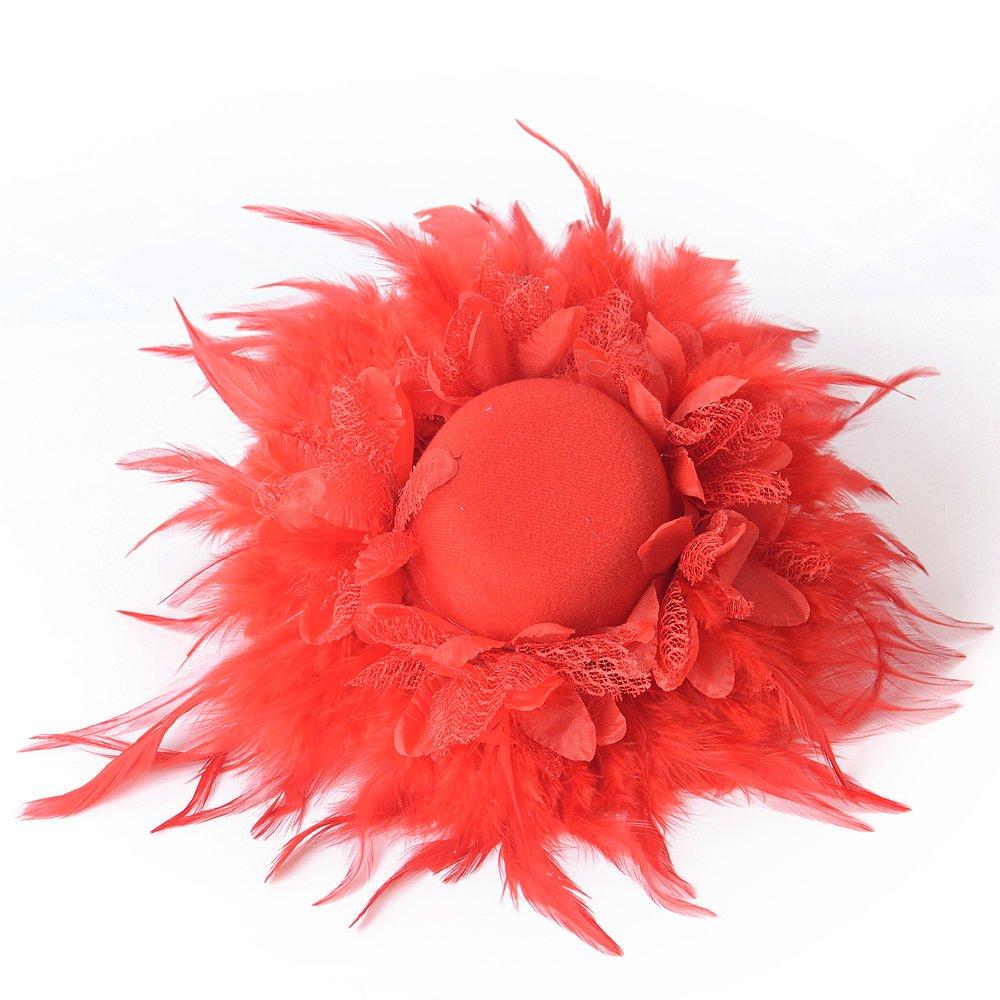 Fascinator Hats Women Headband Feather Cocktail Party Hats Bridal Kentucky Derby Headwear Wedding Party, Blue Kitzen