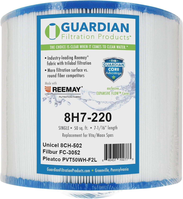 Guardian Pool Spa Filter Replaces Pleatco: PVT50WH-F2L Unicel: 8CH-502 Filbur: FC-3052 Vita, Maax Spas