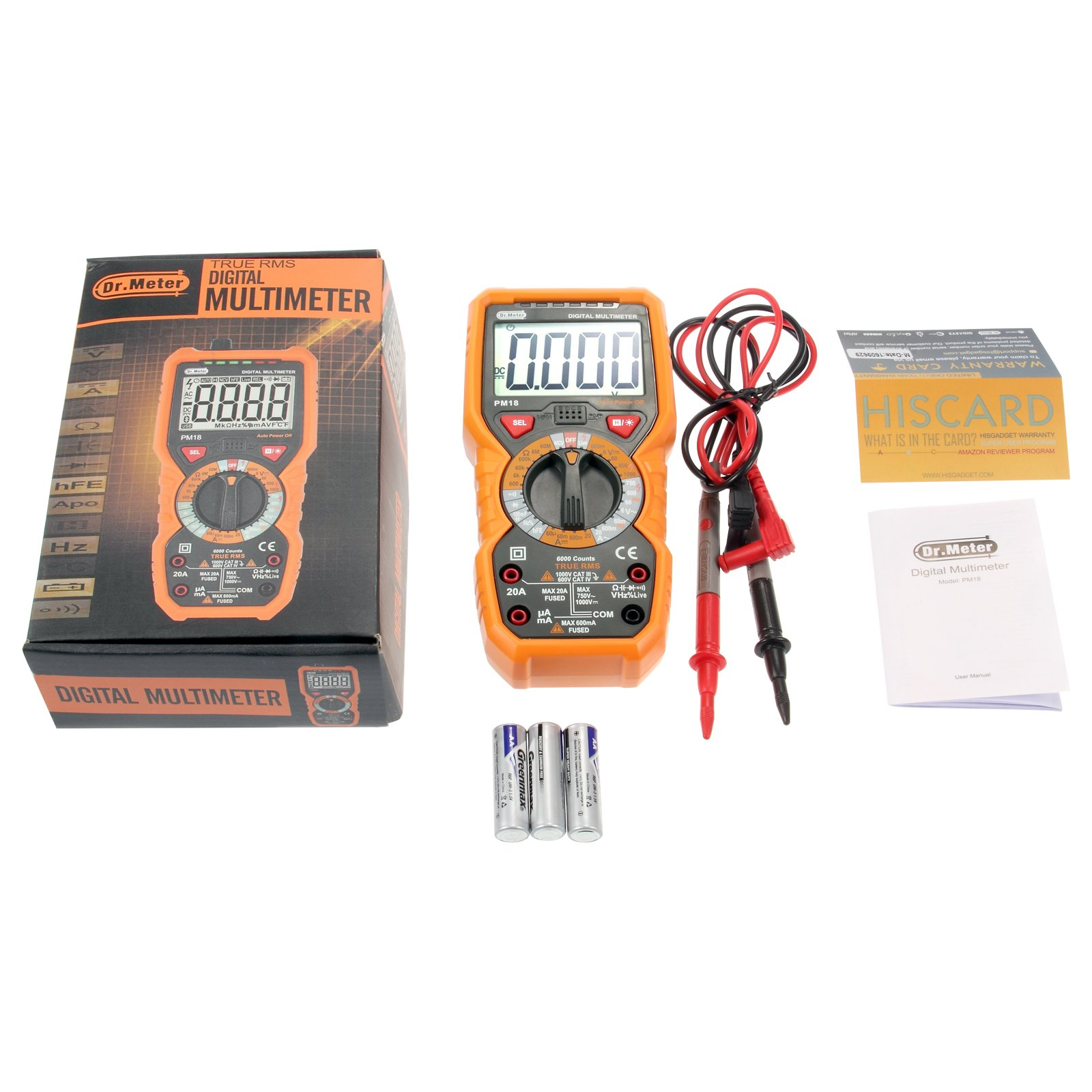 [Digital Multimeters] Dr.meter Digital Multimeter Trms 6000 Counts Tester Non-Contact Voltage Detection Multi Meter, PM18 by Dr.meter (Image #6)