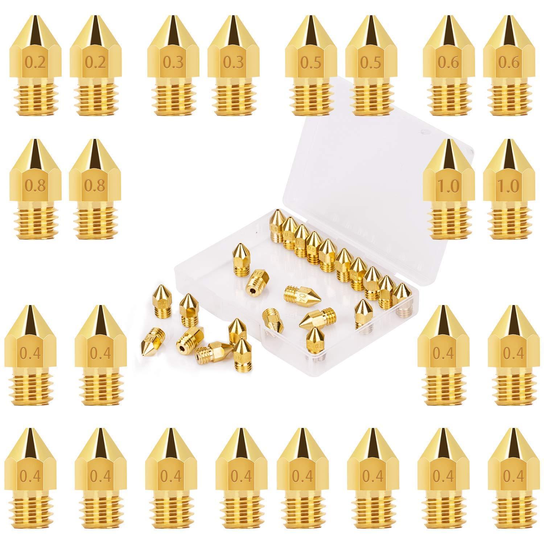 24 boquillas extrusoras de impresora 3D accesorios de impresión de latón, diferentes tamaños, 0,2 mm, 0,4 mm, 0,6 mm, 0,8 mm, 1,0 mm, compatible con ...