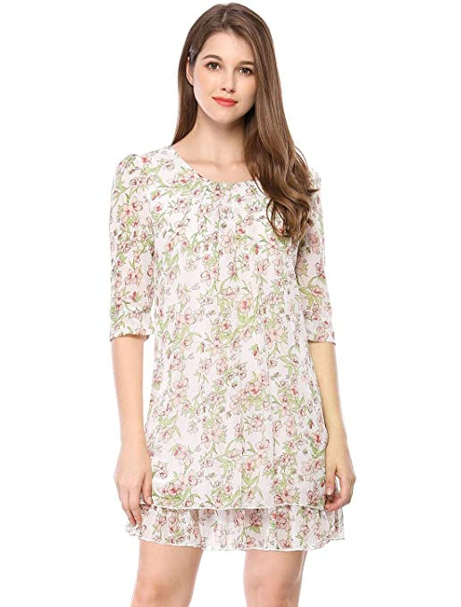 39a36b7e82 Allegra K Women s Floral 3 4 Sleeve Scoop Neck Belted Layered Mini Short  Dress at Amazon Women s Clothing store