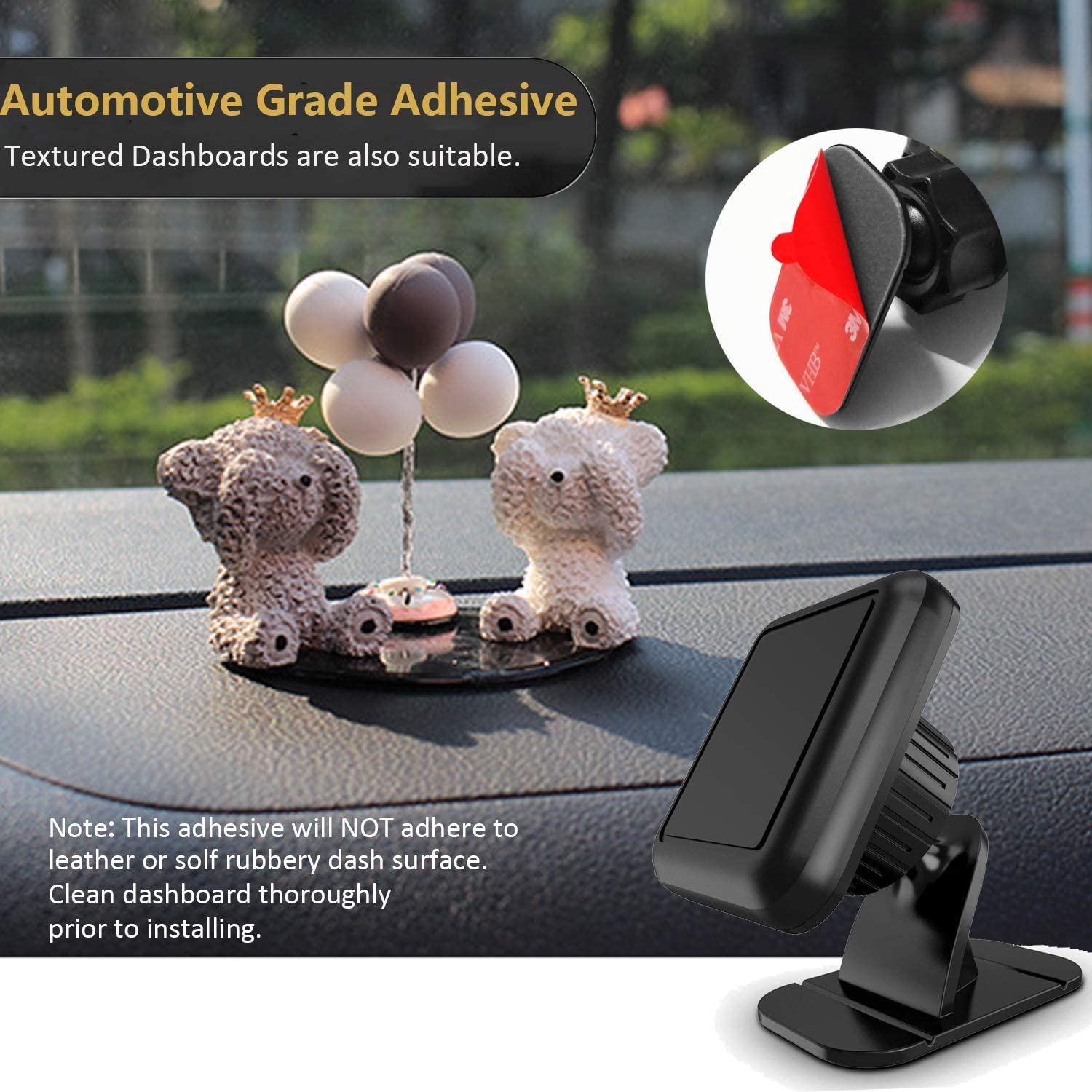 PKYAA 6 Pack Rectangle Heat Resistance Adhesive Replacement Pads for Dashboard Magnetic Phone Holder 6pcs Rectangle Adhesive Tapes /& 6pcs Alcohol Prep Pads Dashboard Mount Sticky Adhesive