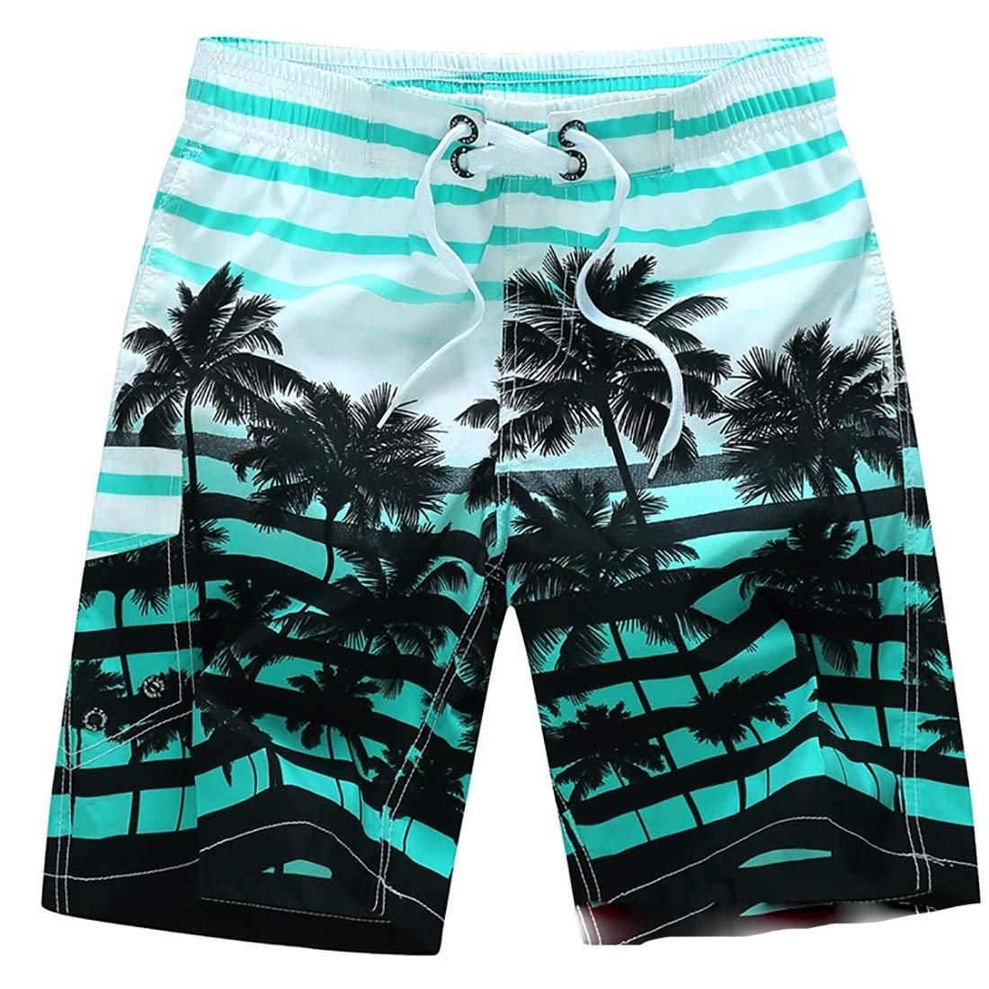 Mens Fashion Summer High Waist Swim Trunks Quick Dry Beach Shorts