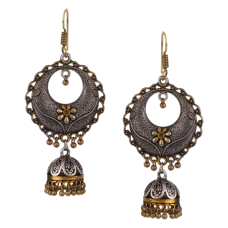 Efulgenz Boho Vintage Antique Ethnic Gypsy Tribal Indian Oxidized Gold Black Chandbali Jhumka Earrings Jewelry