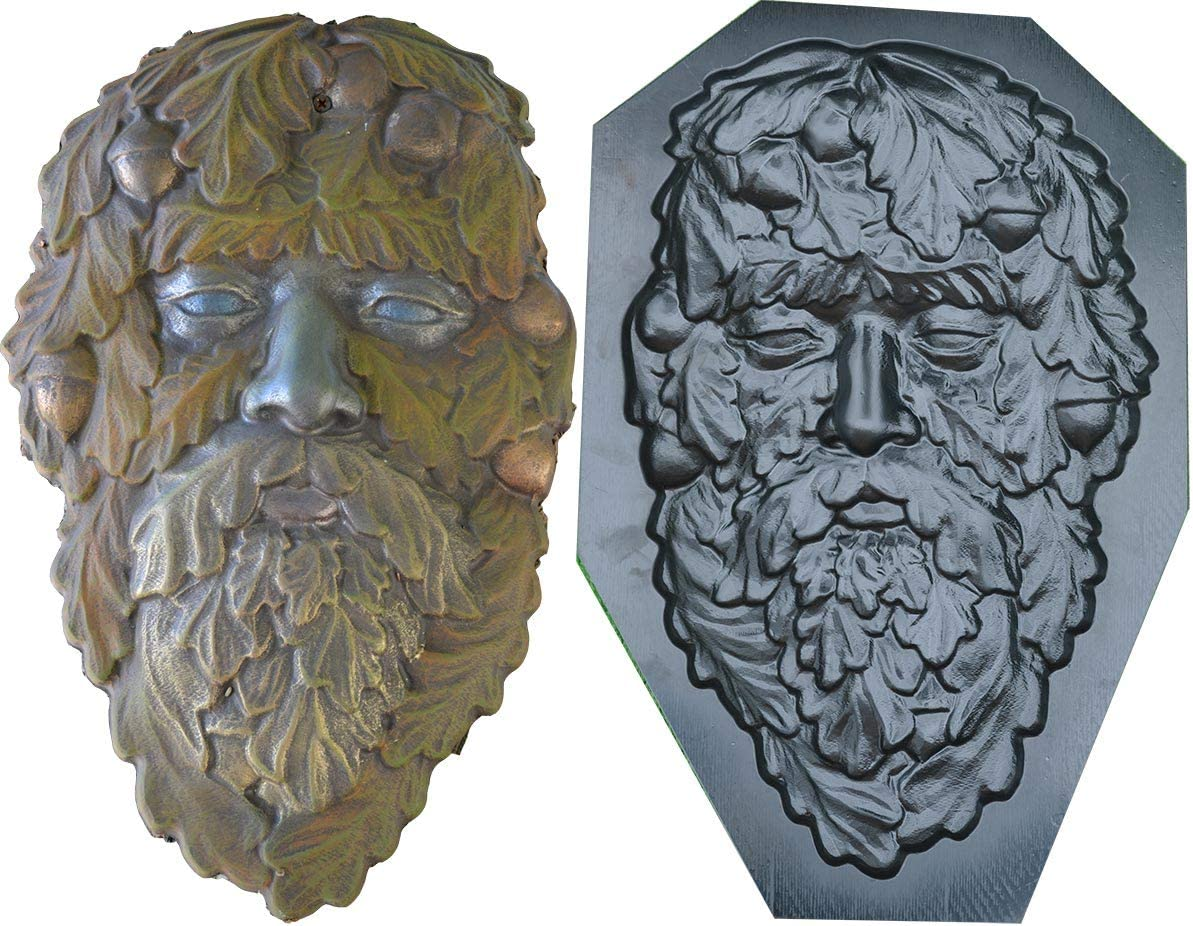 Betonex Mold Green Man FACE Plaque Old Man Tree Wood Spirit Faces Greenman D31