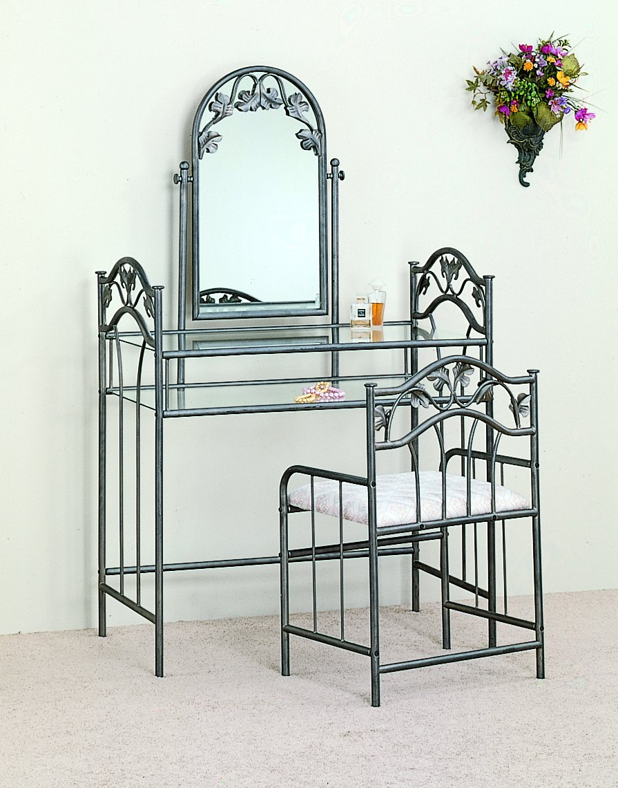 Mirrored Vanity Table And Stool: Metal Vanity Table With Stool Mirror Shelf Glass Top