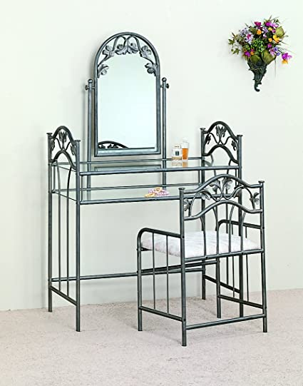 Coaster Home Furnishings Traditional 3 Piece Metal Vanity Table Stool  Mirror Set   Pewter / Ivory