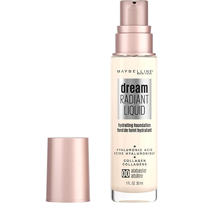 Maybelline dream Radiant Liquid Medium Coverage Hydrating Makeup, Lightweight Liquid Foundation, Alabaster, 1 Fl. קבוצת צבע: חום, שם של צבע: Hydrating Makeup, מתאים לשימושים הבאים: Women. אוז