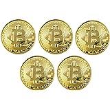 Ulable 5 unids Moneda de Oro / Plata / Cobre Chapado Bitcoin Moneda Moneda Virtual Coleccionables Regalo BTC Coin Art…