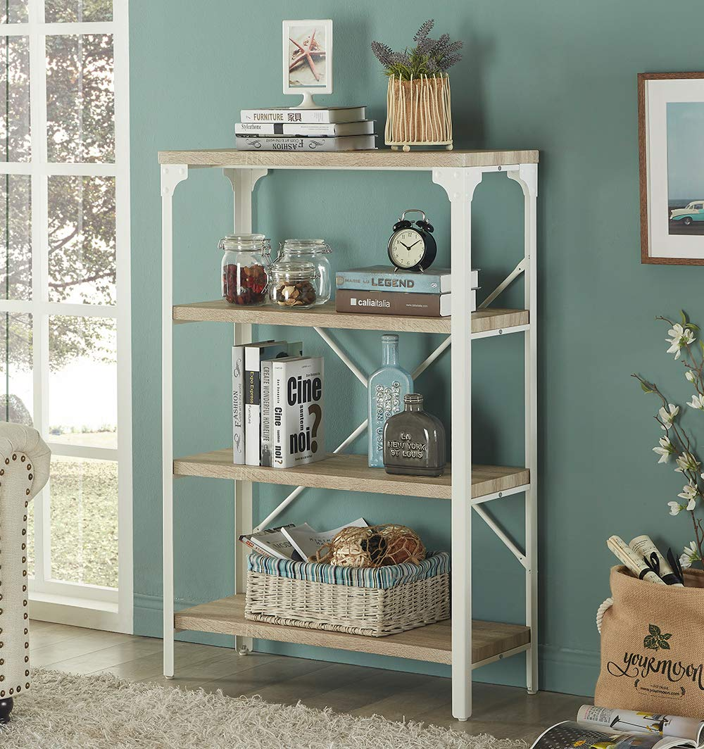 Homissue 4-Tier Modern Industrial White Bookshelf, Display Storage Rack for Living Room, Office Open Wide Etagere Bookcases Furniture, Light Oak Shelves