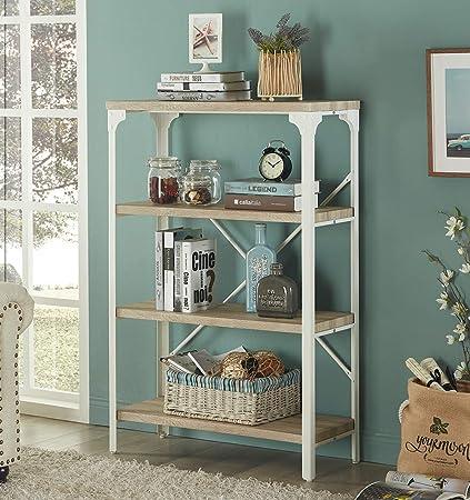 Homissue 4 Tier Modern Industrial White Bookshelf Display Storage Rack For Living Room