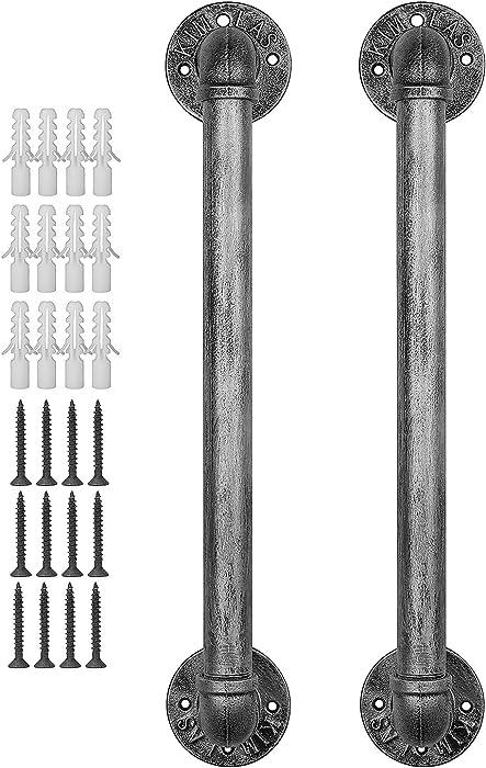 FOYO Set of 2 Industrial Pipe Door Pull Handle,Barn Door Hardware,Rustic Handles- Matte Silver,19-3/4 Inch