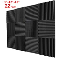 """BEWAVE Acoustic Foam Soundproofing Acoustic Panels, Sound Proof Padding Wedge Tiles Curtain for Studio Wall Piano Room 1""""x12""""x12"""" (12 Pack, Black)"""