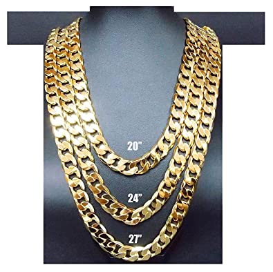 eeeee59c29c94 Hollywood Jewelry Gold Chain Necklace 9.1MM 18K Diamond Cut Smooth Cuban  Link with No Fade USA Patented