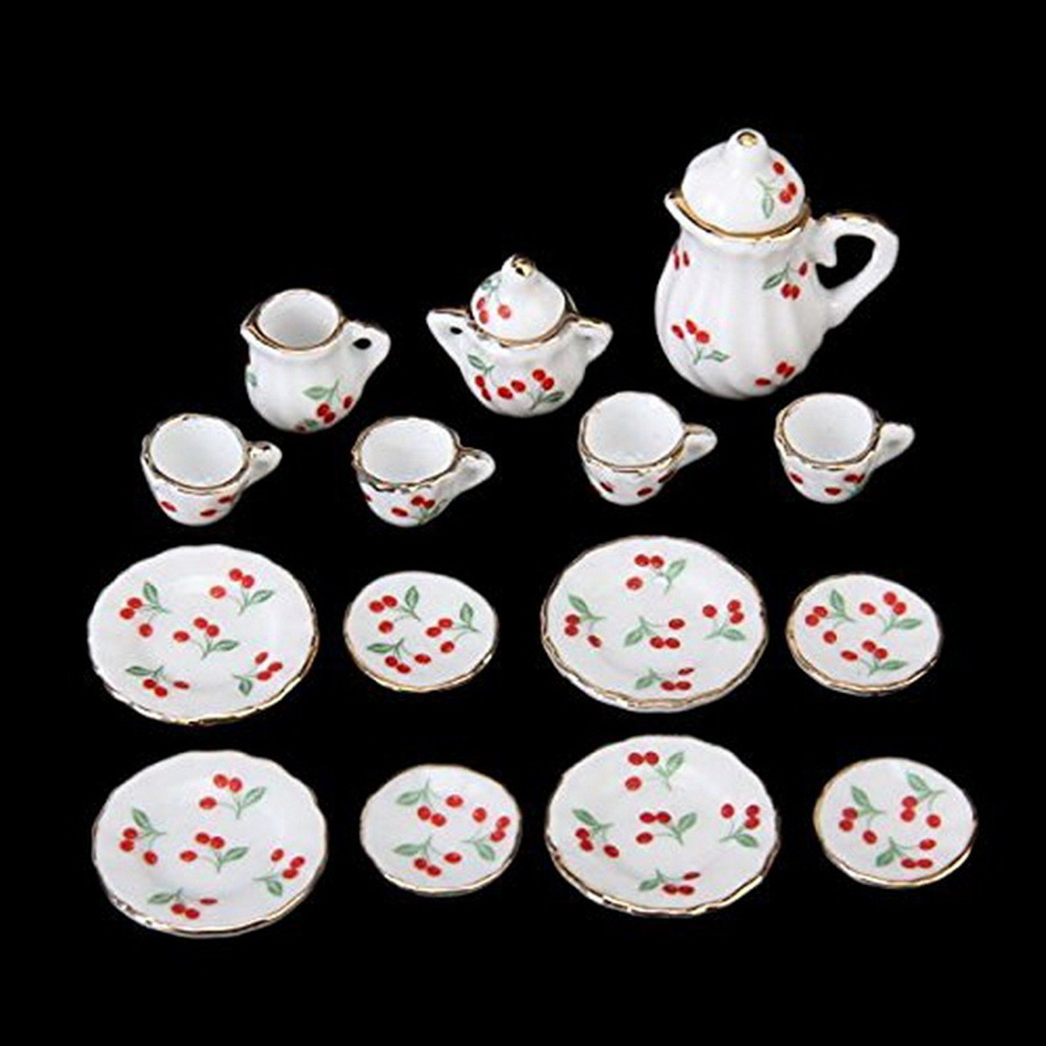 15pcs Dollhouse Miniature Dining Ware Tea Set White with Flower
