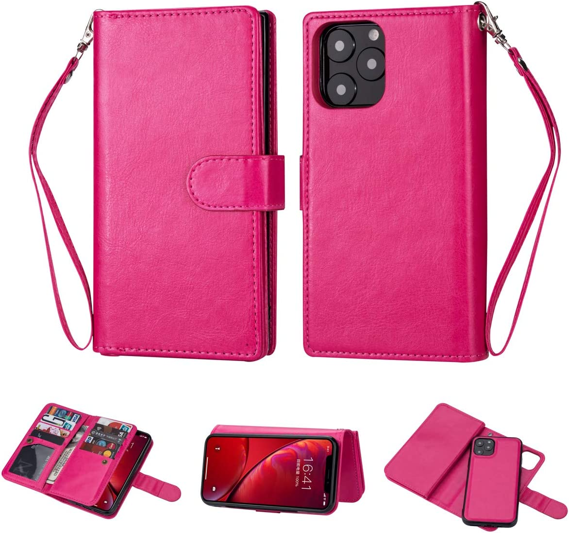 Black Sales Friday Deals Cyber Sales Monday Deals-iPhone 11 Wallet Case [2 in 1 Detachable] Premium Vintage Leather Wallet Case Magnetic Detachable Slim Back Cover Card Holder Slot Wrist Strap (Pink)