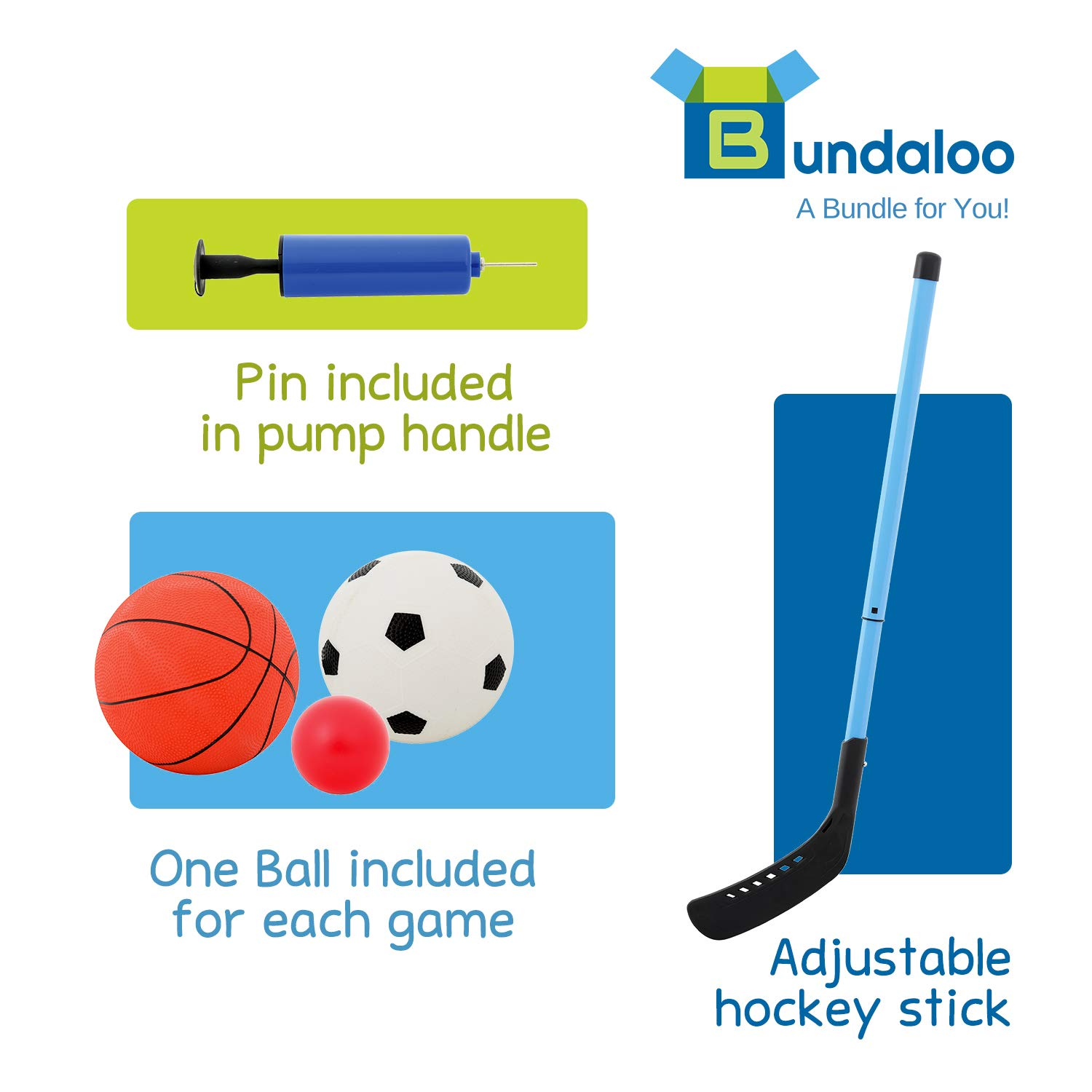 Bundaloo 3 in 1 Arcade Game | Basketball, Soccer, and Hockey Kids Toys | Fun Outdoor and Indoor Ball Games for Boys, Girls, Toddler | Includes 3 Balls, Backboard Hoop, Net Goal, Stick, and Air Pump by Bundaloo (Image #6)