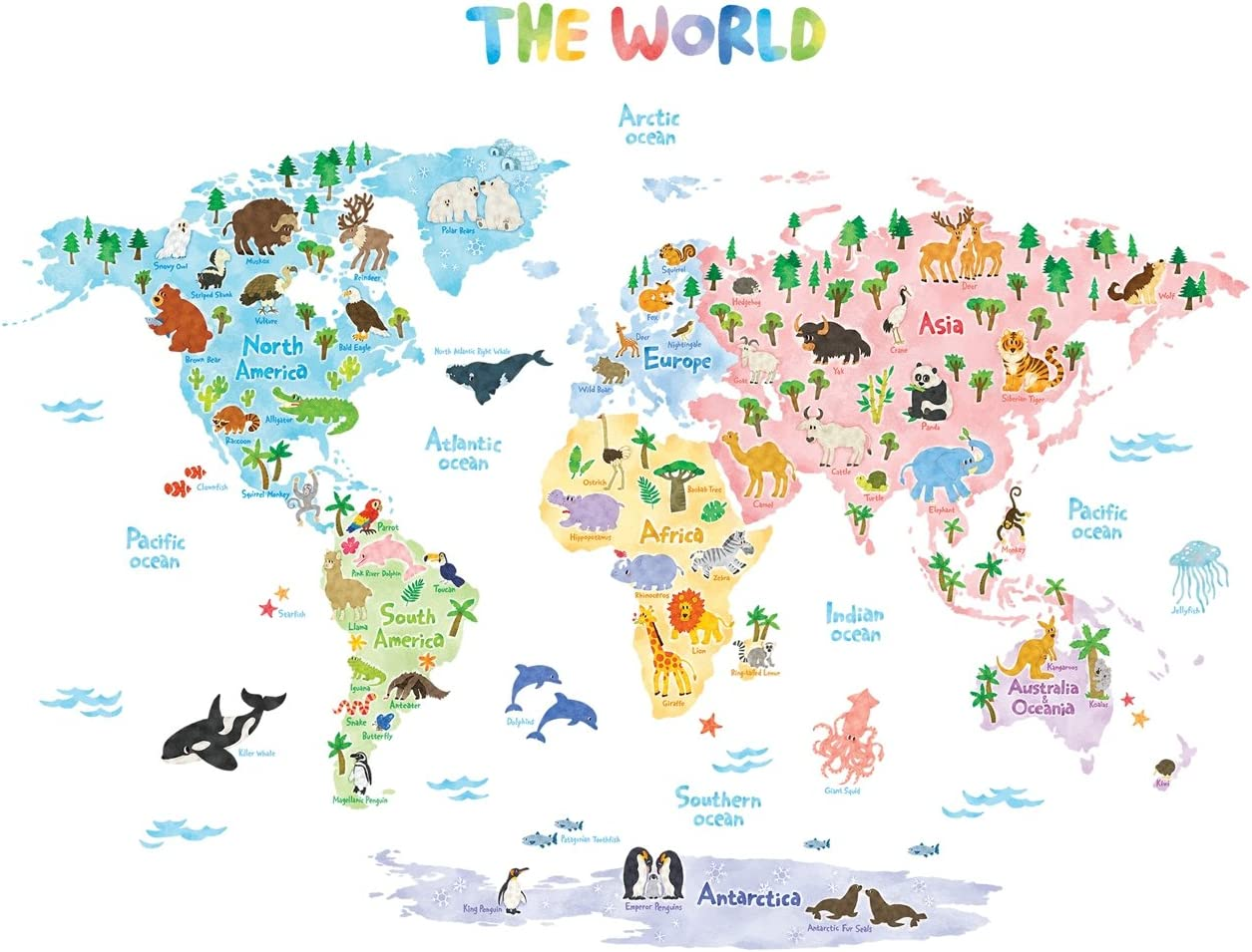 Animal World Map Wall Stickers Removable Art Decal Kids Nursery Home Decors