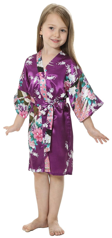 joytton Niñas de satén Kimono Albornoz para Spa fiesta boda ...